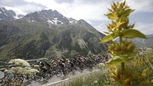 Le peloton du Tour de France, sur l'étape Grenoble-Risoul, le 19 juillet 2014.