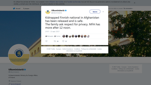 وزارت امور خارجه فنلاند در صفحه توئیتری خود امروز اعلام کرد که شهروند ربوده شده در افغانستان آزادشده و سلامت است.
