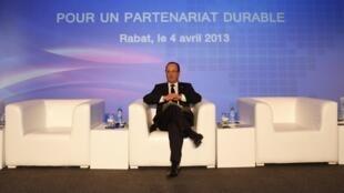 François Hollande, le 4 avril 2013 à Rabat.