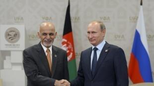 Le président russe Vladimir Poutine (d.) serre la main de son homologue afghan Ashraf Ghani, le 10 juillet 2015 à Oufa.