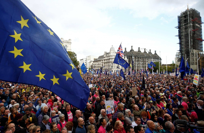 Manifestaçãon anti-Brexit neste sábado em Londres, 19 de outubro de 2019.