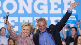 Hillary Clinton da Tim Kaine 'Yan takarar shugabancin Amurka a Jam'iyyar Democrat