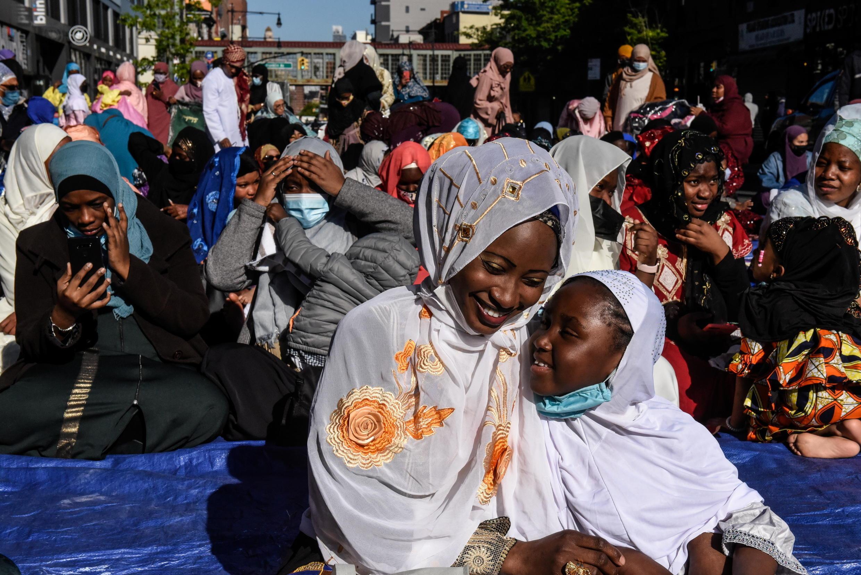 Muslim worshipers prepare to hold morning Eid al-Fitr prayers in the Brooklyn borough of New York City, New York, U.S., May 13, 2021.