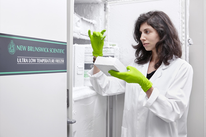 María Morel Carretero, PhD, trabajando en el Institut de Génétique Humaine du CNRS en Montpellier.
