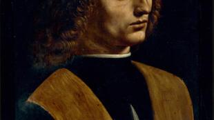 Леонардо да Винчи. Портрет молодого человека с нотами в руках (портрет музыканта). 1490-1492