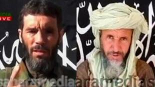 Mokhtar Belmokhtar (à gauche) et Abou Zeid (à droite). Tous les deux morts selon les autorités tchadiennes, ce que ni la France, ni le Mali ne confirment.