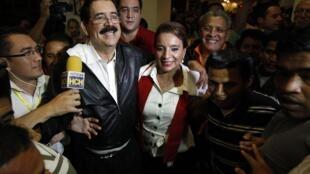Xiomara Castro y su marido Manuel Zelaya, ex presidente de Honduras, se congratularon por el anuncio.