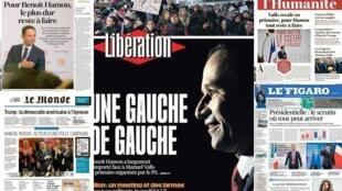 A vitória do ex-ministro Benoît Hamon, escolhido para ser o candidato do Partido Socialista na eleição presidencial francesa é manchete dos jornais do país.