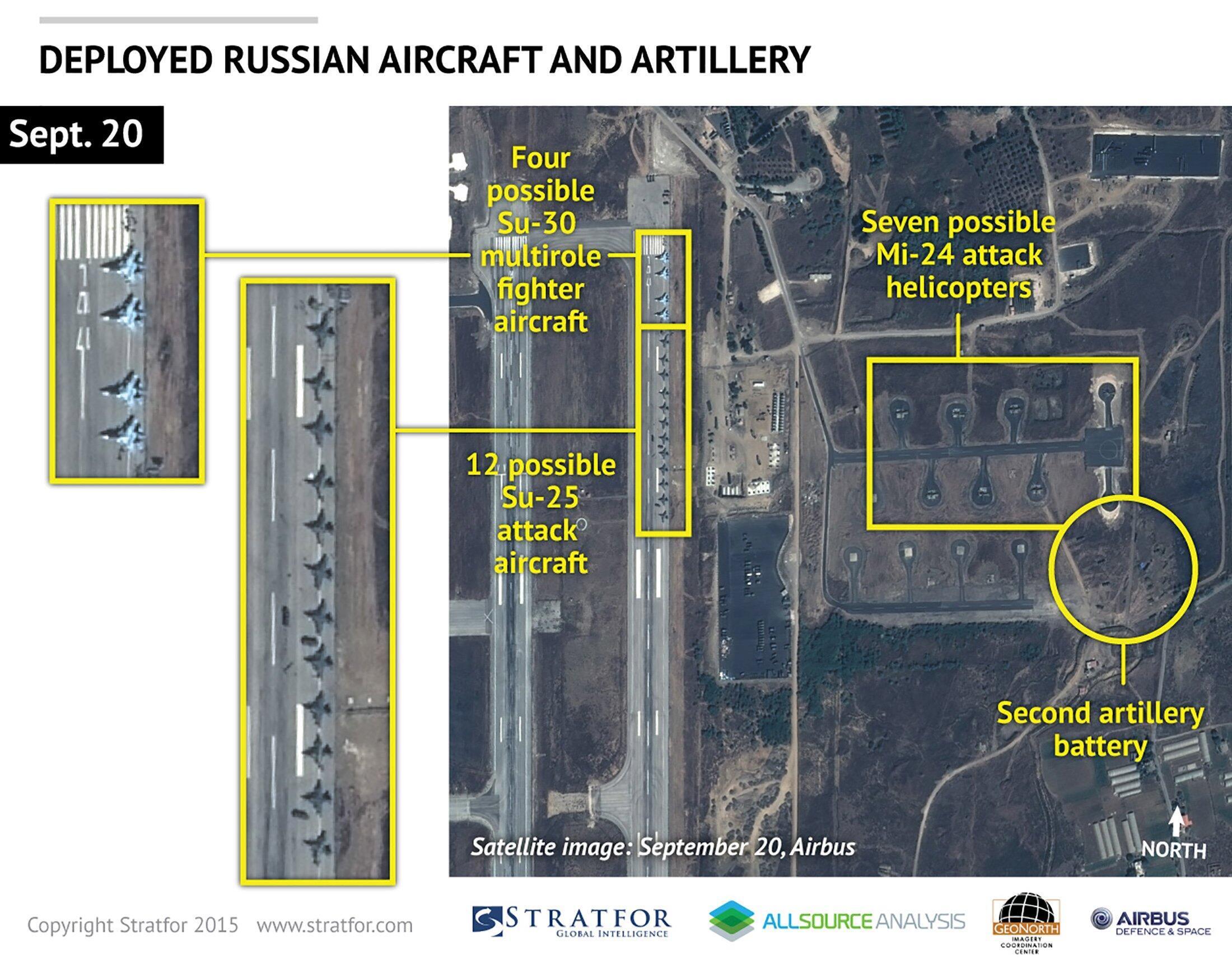 Une image satellite montre au moins seize avions de combat russes stationnés sur la base aérienne du régime syrien près de la ville de Lattaquié.
