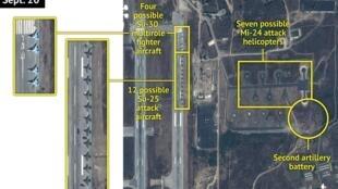 Une image satellite montre au moins 16 avions de combat russe stationnés sur la base aérienne du régime syrien près de la ville de Lattaquié.