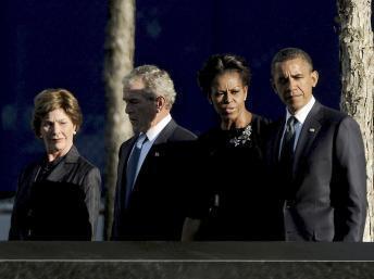 Shugaban Kasar Amurka Barack Obama tare da G. Bush da uwar gidansu