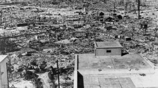 Efectos de la bomba atómica sobre la ciudad de Hiroshima.