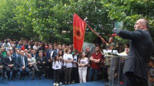 Le candidat Ramush Haradinaj, lors d'un meeting de campagne, le 5 juin 2017 à Ferizaj, au Kosovo.