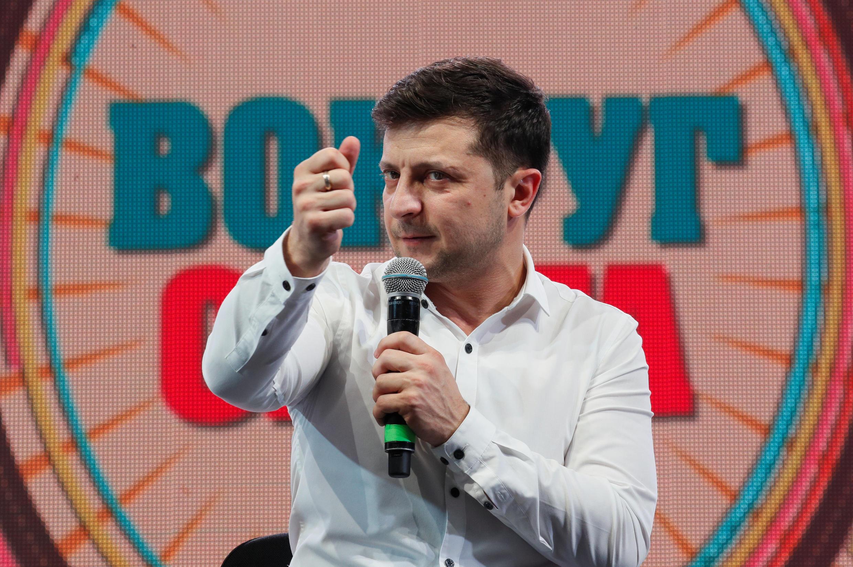 O humorista Volodymyr Zelenskiy, em Brovary, na Ucrânia, em 29 de março de 2019.