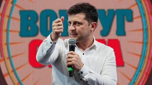 Volodymyr Zelenskiy, Ukrainian comedian and candidate in the upcoming presidential election, hosts a comedy show at a concert hall in Brovary, Ukraine March 29, 2019.