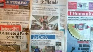 Diários franceses desta quarta-feira 02 de Setembro de 2015.