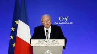 Роже Кукерман, председатель совета еврейских общин Франции на ежегодном ужине в Париже 23/02/2015