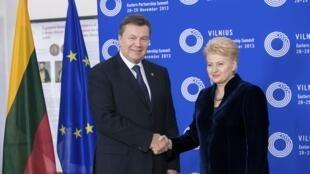 Янукович и Грибаускайте в Вильнюсе