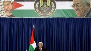 Le président palestinien Mahmoud Abbas lors d'un discours à Ramallah, le 5 novembre 2009.