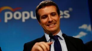 Pablo Casado, del Partido Popular, habla después del anuncio de los resultados, este 28 de abril de 2019 en Madrid.