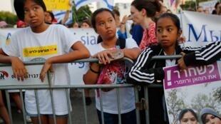 Manifestation à Tel Aviv d'enfants nés en Israël et d'origine philippine contre les déportations, le 6 août 2019.