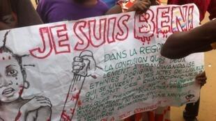 Une banderole déployée lors du rassemblement à Beni, en RDC.