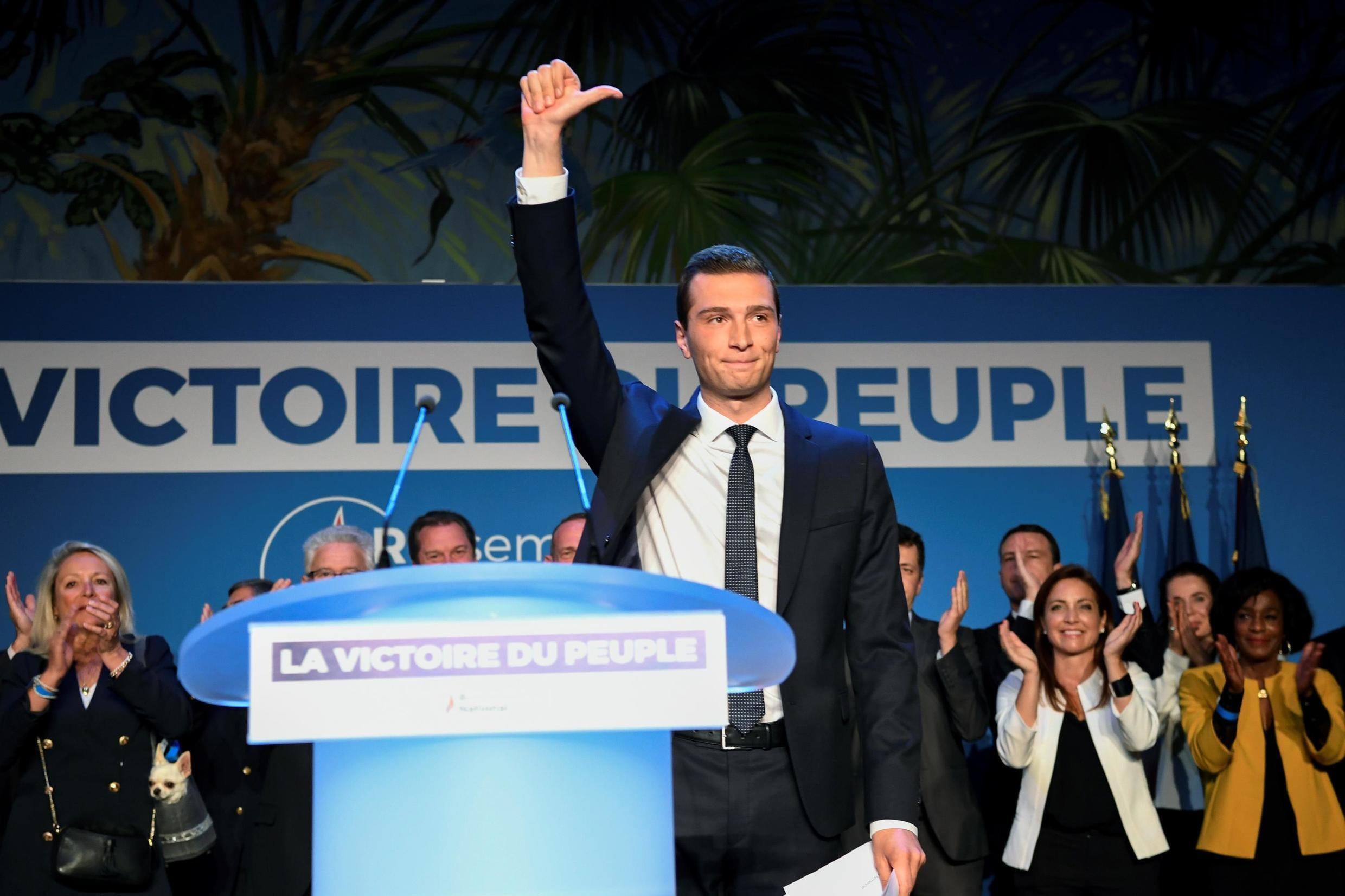 Jordan Bardella, lead candidate for Marine Le Pen's National Rally in the 2019 European elections, celebrates victory at party headquarters on 26 May 2019, despite the party slightly declining in vote share since 2014.