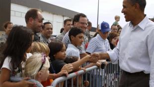 Le président américain, Barack Obama, lors de son arrivée à Milwaukee, dans le Wisconsin, le 6 septembre 2010.