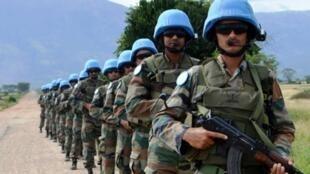 Nord-Kivu, RD Congo: des casques bleus de l'Unité de réaction rapide du contingent indien, déployés à la base opérationnelle de la MONUSCO,19 novembre 2014.