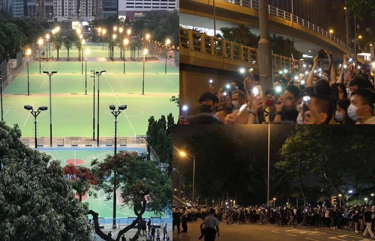 警方圍封維園禁人悼念六四,使燭光如海的球場空無一人(左),但不少市民仍在維園外點起燭光悼念(右)(麥燕庭提供)