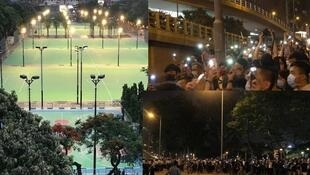 警方围封维园禁人悼念六四,使烛光如海的球场空无一人(左),但不少市民仍在维园外点起烛光悼念(右)(麦燕庭提供)