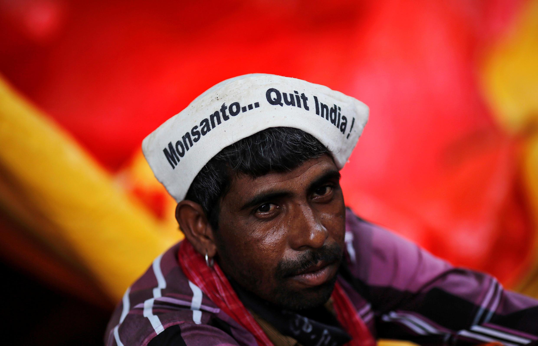 Акция протеста индийских фермеров в Нью-Дели, 8 августа 2013.