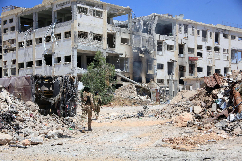 Askari wa jeshi la Syriakatika eneo la kusini ya barabara ya mjini Castello, Julai 28, 2016.