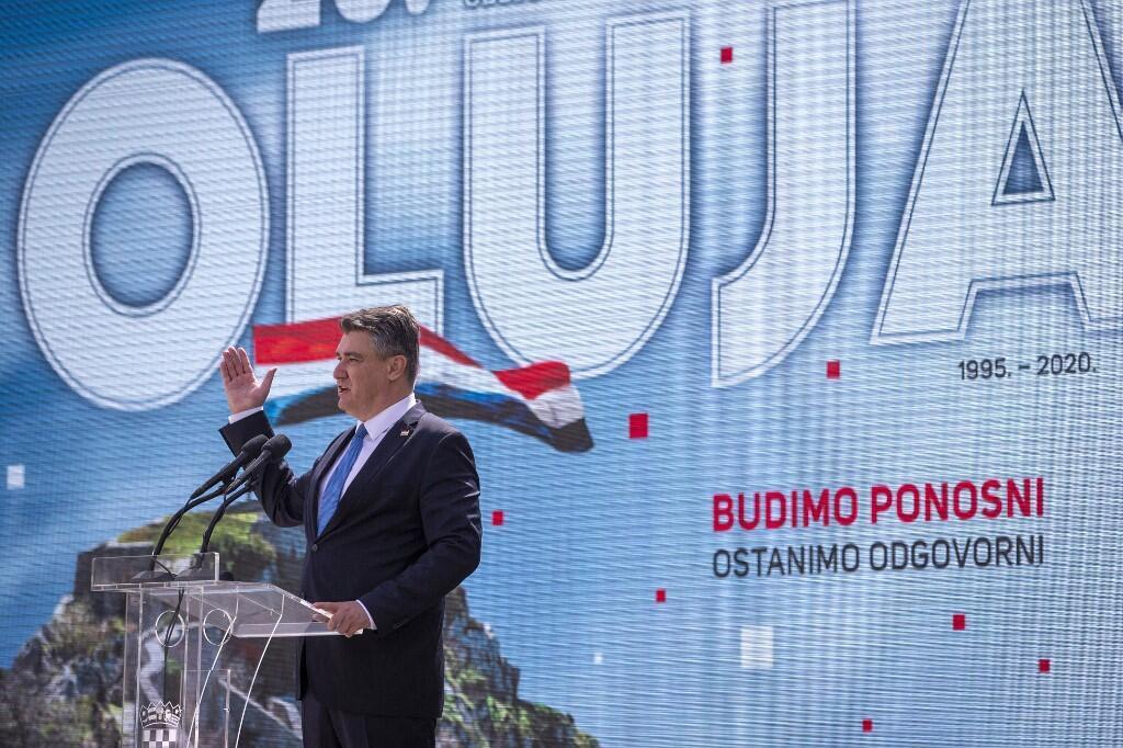 Le président croate Zora Milanovic, le 5 août 2020, lors d'une cérémonie marquant le 25e anniversaire de la victoire militaire qui a mis fin à la guerre d'indépendance du pays.