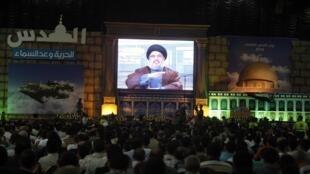 Le chef du Hezbollah Hassan Nasrallah, s'est exprimé à la télévision, le 3 septembre 2010 au Liban, à l'occasion de la journée al-Qods