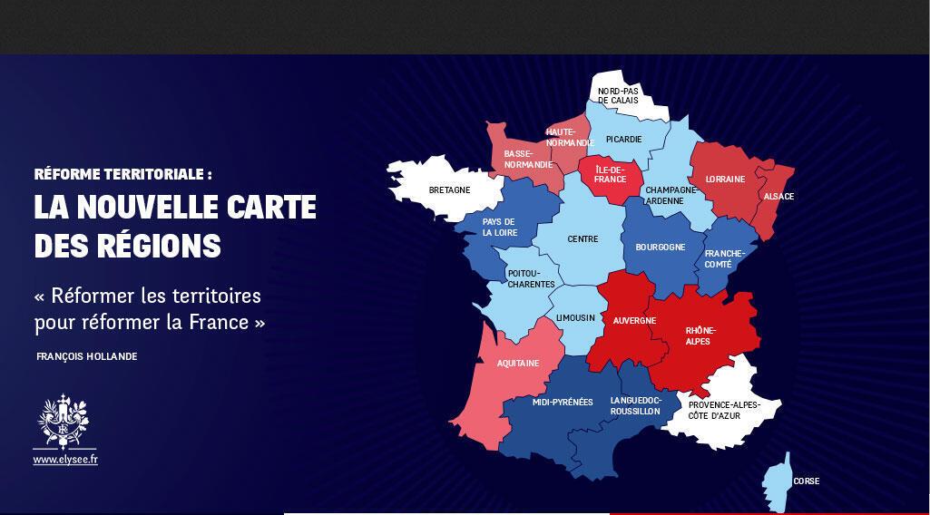 Le nouveau découpage régional de la France : 14 régions au lieu de 22.