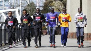 Ethiopia's Kenenisa Bekele, Eritrea's Ghirmay Ghebreslassie, Kenya's Eliud Kipchoge, Kenya's Dennis Kimetto, Kenya's Stanley Biwott and Kenya's Wilson Kipsang pose ahead of the 2016 Virgin Money London Marathon on 20 April, 2016