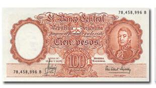 Un billet de 100 pesos, monnaie de l'Argentine.