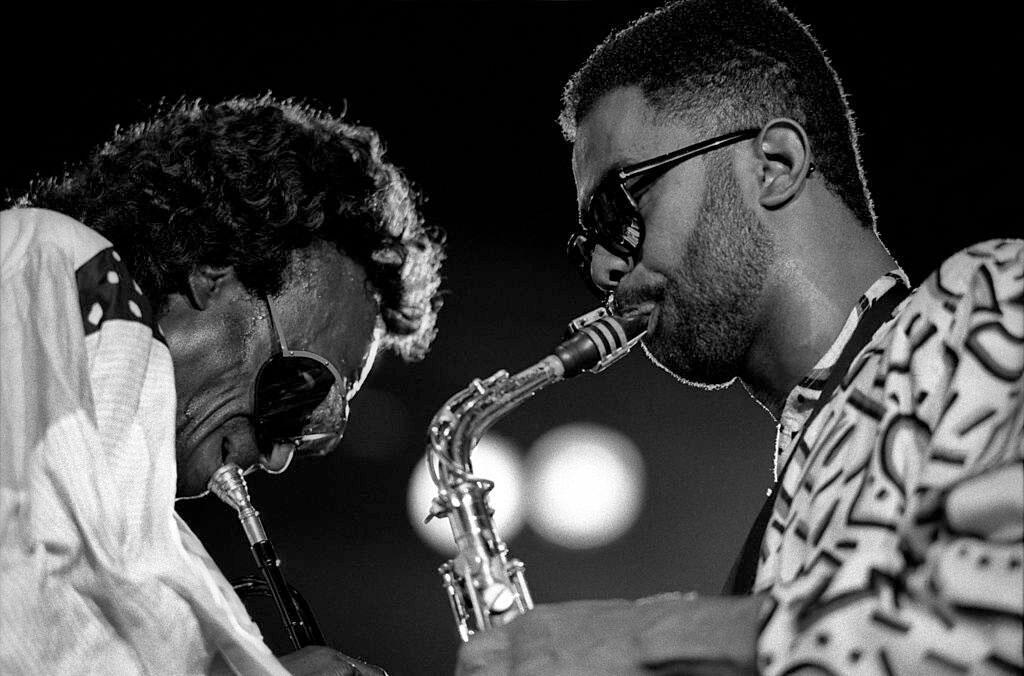 Miles Davis et Kenny Garrett en concert en juillet 1988.