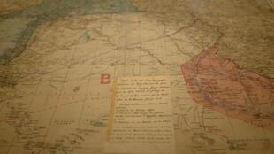 Carte concernant la création d'un Etat dans la région syrienne. Les Accords Sykes-Picot (1916) ont été condamnés comme le paradigme du cynisme occidental et du découpage colonial au mépris du droit des peuples à disposer d'eux-mêmes.