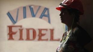 Graffiti de soutien à Fidel Castro à Calimete, à 180 km de La Havane.