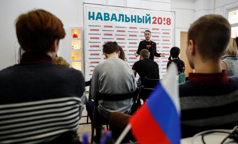 Инструктаж наблюдателей в штабе Алексея Навального в Москве. 10 февраля 2018 г.