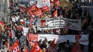 Манифестация госслужащих в Марселе против плана жесткой экономии 15/05/2014