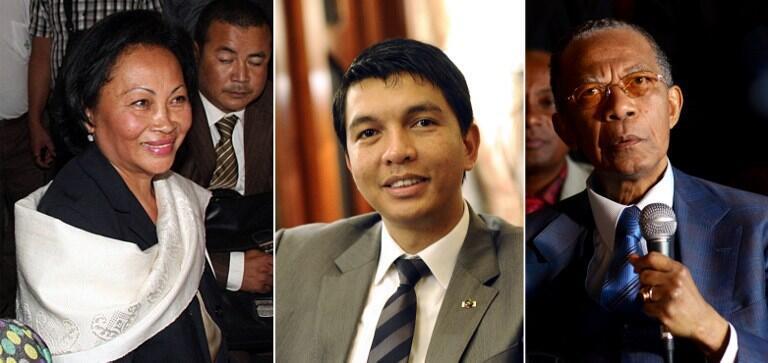 De gauche à droite : Lalao Ravalomanana,  Andry Rajoelina et  Didier Ratsiraka.