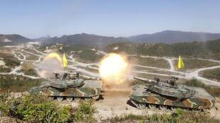 Quân đội Hàn Quốc tập trận hôm 30/9/2011.
