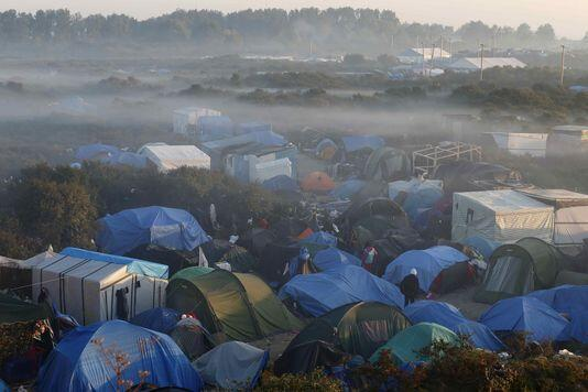 """Up to 6,000 refugees live in """"The Jungle"""" refugee camp, in Calais."""