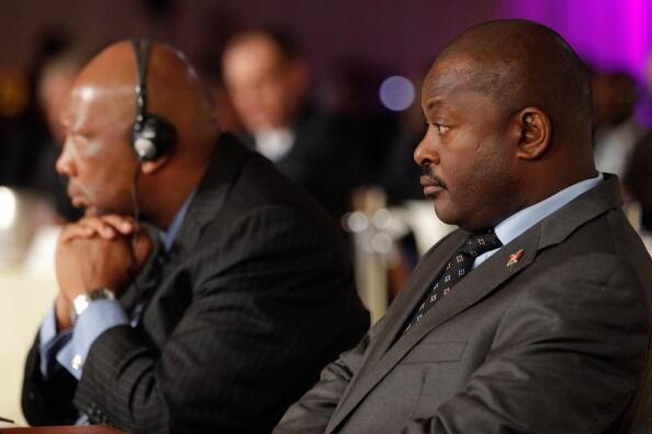Current President of Burundi Pierre Nkurunziza (R) attending a session in Monaco, 27 October 2011