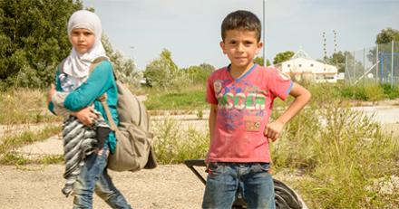 Niños sirios refugiados en Líbano.