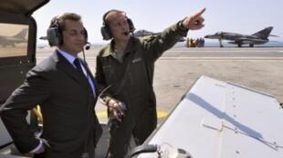 Саркози на борту авианосца Шарль де Голль 10 июня 2010 г.