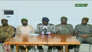 Mali military coup leaders appeared on state television early Wednesday with a pledge to oversee a transition to a new elected government after they arrested President Ibrahim Boubacar Keita, who announced he would step down, 19 August 2020.